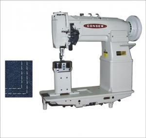 Consew 329RB-1 Heavy Duty, High Speed, Post Bed, 2 Needle, Angular Stitching, Drop Feed, Needle Feed, Lockstitch Industrial Sewing Machine With Table and Servo Motor