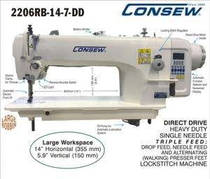 Consew 2206RB-14-7-DD Direct Drive Heavy Duty Single Needle Triple Feed, Walking Foot Industrial Sewing Machine