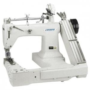 ​Consew 345-3P High Speed Feed-Off-The-Arm Type Drop Feed Double Chainstitch Lap Seam Felling 3 Needles Lockstitch Industrial Sewing Machine With Table and Servo Motor​