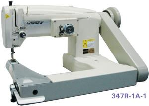 Consew 347R-1A-1 Single Needle Drop Feed Feed-Off-The-Arm Cylinder Bed Zig-Zag Lockstitch Industrial Sewing Machine With Table and Servo Motor