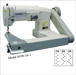 Consew 347R-2A-1 Single Needle Drop Feed Feed-Off-The-Arm Cylinder Bed Zig-Zag Lockstitch Industrial Sewing Machine With Table and Servo Motor