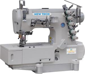 New-Tech GC-562-01DA 3-Needle 5-Thread Direct Drive Coverstitch Industrial Sewing Machine w/Table and Servo Motor