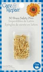 Solid Brass Safety Pins, Small Size 00 & 0 by Dritz (pack of 50)