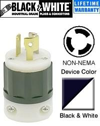 Non-NEMA Locking Plug Industrial - Black-White