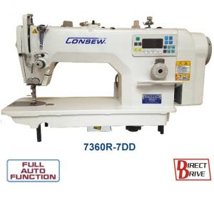 Consew 7360R-7DD High Speed Single Needle Drop Feed Lockstitch Industrial Sewing Machine with Table and Servo Motor​