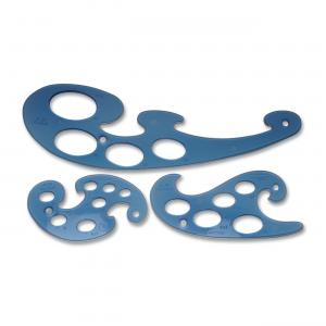 3 Pc.Template Set, French Curves, 10-50mm, Blue