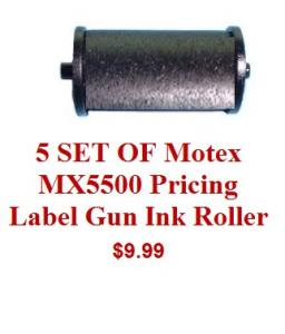 Pricing Label Gun Ink Roller, Motex (set of 5)