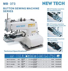 New-Tech MB-373 Chainstitch Button Attaching Industrial Sewing Machine With Stand