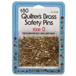 Solid Brass Quilters Safety Pins Size #0 - Dritz
