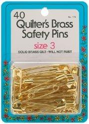 Solid Brass Safety Pins, Large, Size 3, by Dritz/Collins