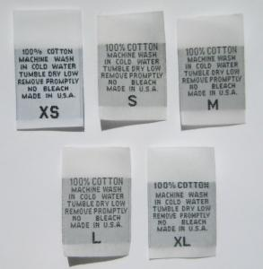Clothing Care Labels - 100% Woven Cotton