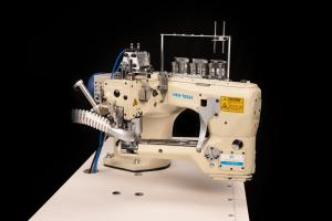 New-Tech GC-62GD 4 Needle 6 Thread Flat Seamer Feed-Off-The-Arm Top and Bottom Cover Stitch With  Vacuum System Industrial Sewing Machine With Table and Direct Drive