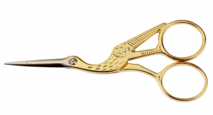 Gold Plated Bird Design Embroidery Scissors