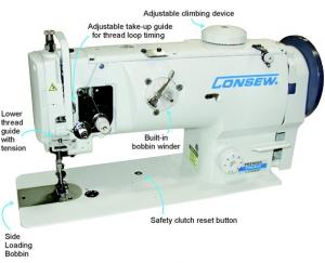 Consew Premier 1541S-CC Drop Feed Needle Feed  Walking Foot  Lockstitch Industrial Sewing Machine With Table and Servo Motor