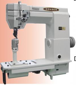 Consew 701 High Speed, 1 Needle, Post Bed, Drop Feed, Needle Feed Lockstitch Industrial Sewing Machine With Table and Servo Motor