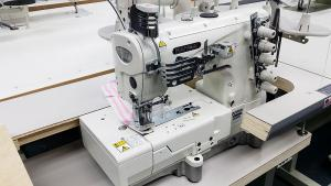 Kansai Special NW-8803GMG 3-Needle Top & Bottom Flat Bed Coverstitch With Binding Fittings Industrial Sewing Machine With Table and Servo Motor