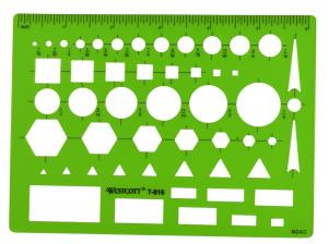 Westcott Lettercraft All-Purpose Plastic Template, Green (T-816)