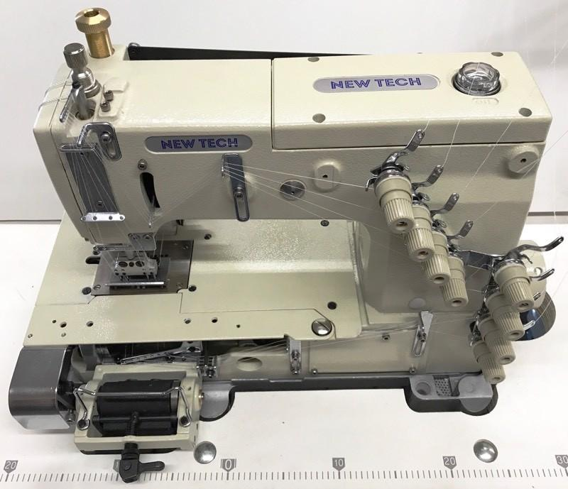New-Tech 1404-PMD 4 Needle Flatbed Double Chain Stitch Industrial Sewing Machine With Table and Servo Motor