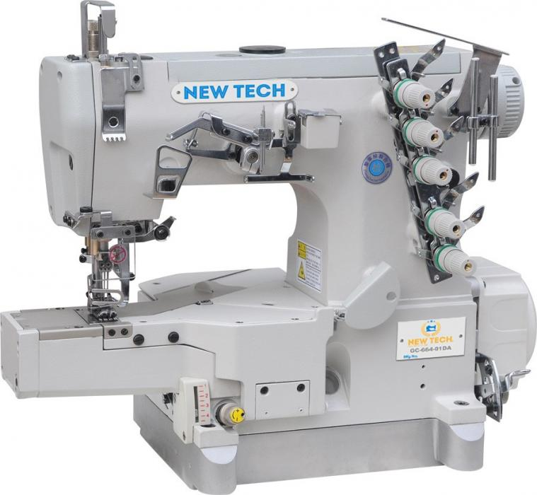 New-Tech GC-664-01DA 3-Needle 5-Thread Direct Drive Cylinder Bed Coverstitch Industrial Sewing Machine w/Table and Servo Motor