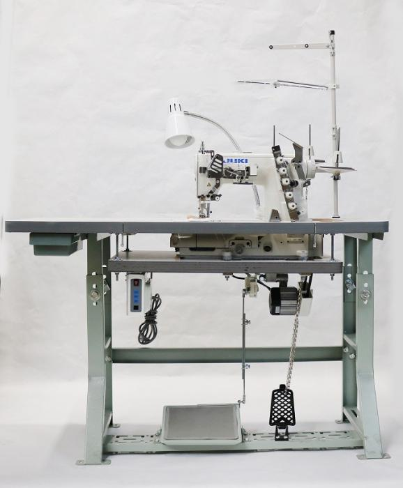 JUKI MF-7523 3 Needle Coverstitch Industrial Sewing Machine With Table and Servo Motor