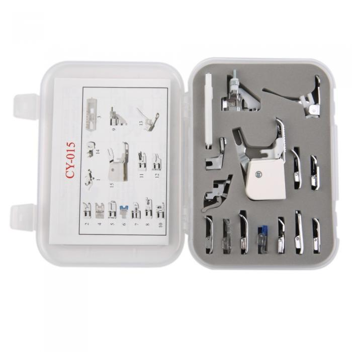 15-piece Snap-on Presser Foot Kit (with adaptors for high & low shank machines)