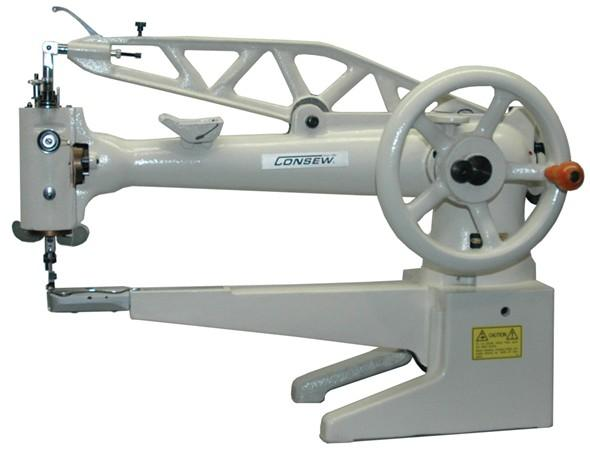 Consew 29 Series Hand Driven Single Needle 18 Inch Cylinder Arm Shoe Repair and Mending Lockstitch Industrial Sewing Machine With Table