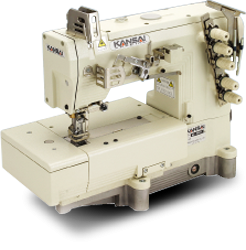 Kansai 8803D 3-Needle Top & Bottom Coverstitch Industrial Sewing Machine With Table and Servo Motor