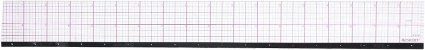 Westcott 8ths Graph Beveled Ruler, Metal Edge 18-Inch (B-85M)