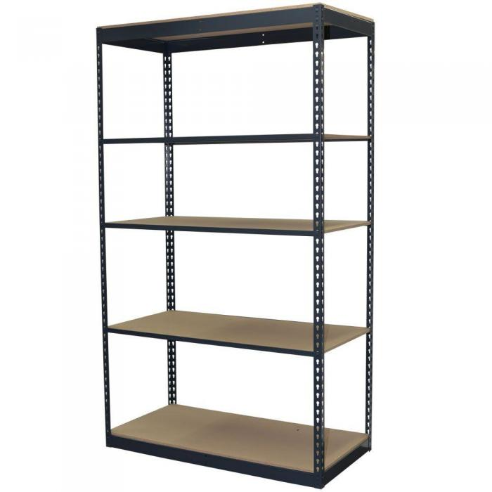 84 in. H x 48 in. W x 24 in. D 5-Shelf Steel Boltless Shelving Unit with Low Profile Shelves and Particle Board Decking