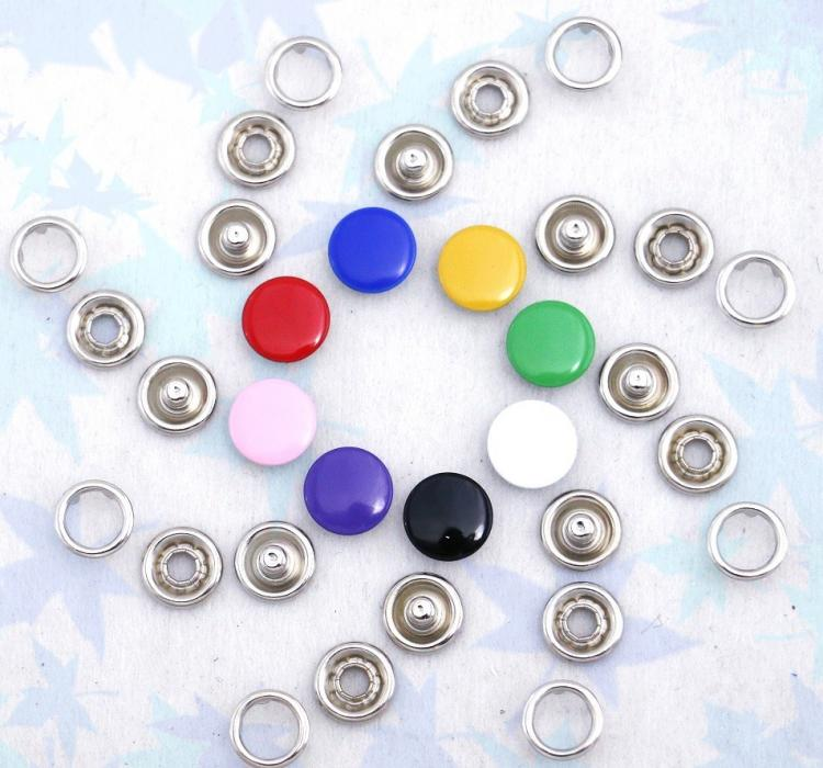 Enamel Prong Ring Snaps With Button Cover