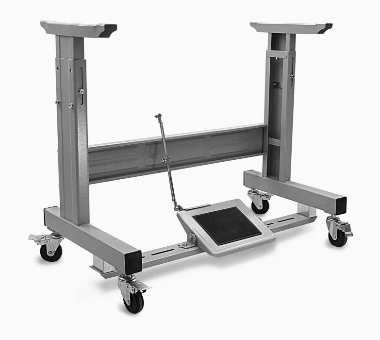 Adjustable T-Leg With Locking Caster Wheels Table Frame Assembly