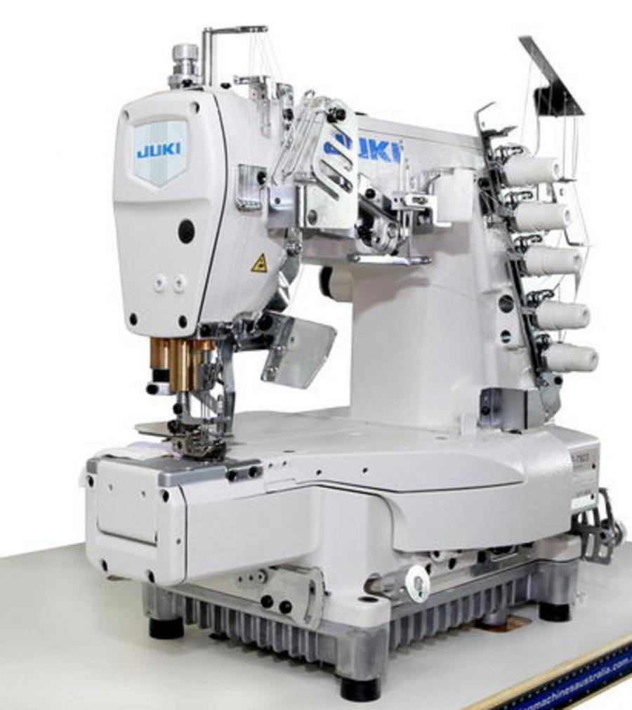 JUKI MF-7923 3 Needle High-Speed Free-Arm Top and Bottom Coverstitch,  Cylinder Bed Industrial Sewing Machine With Table and Servo Motor
